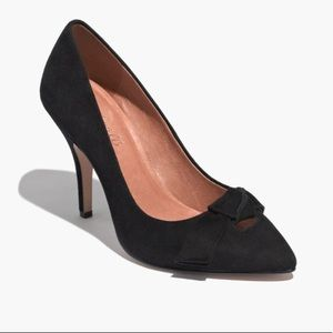 Madewell Lois Black Suede Bow Pointed Toe Heels 5